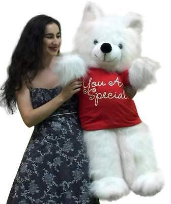 American Made Giant Teddy Bear 45 inches Wears YOU ARE SPECIAL Tshirt White Soft