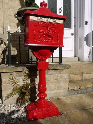 Antique Red Victorian Cast Aluminium floor mounted mail post letter box