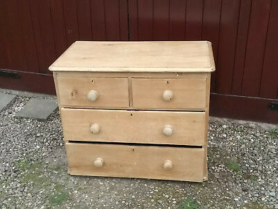Original Victorian Old Pine Chest of Drawers, 2 Over 2 Drawers, Some Blemishes