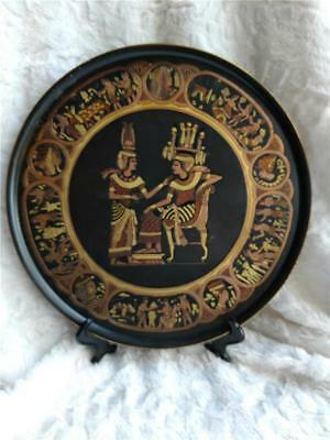 Vintage Tin Metal Brass Copper Egyptian Pharaoh & Queen Engraved Wall Plate