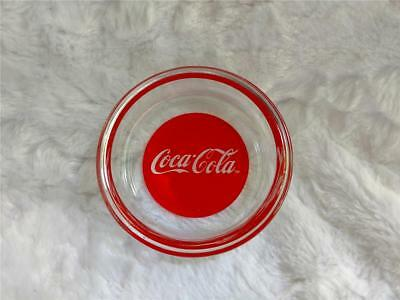 """3.5"""" Clear Glass Ashtray with Red Coca-Cola Base"""
