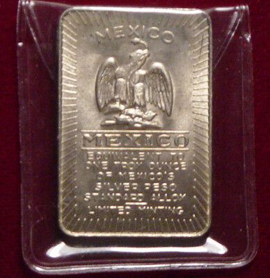 Mexico - 1 Troy oz Limited Edition Standard Alloy Bar Silver Toned - L@@K