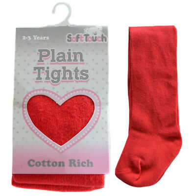 Baby Girls Plain Tights Red Cotton Rich by Soft Touch Everyday  NB - 24 months