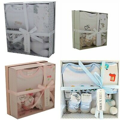 4 Piece New Baby Boy Blue Girl Pink Unisex Gift Box Set Ideal Baby Shower