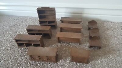 VINTAGE Sylvanian Families Furniture Bundle School Desk Chairs Store Dresser