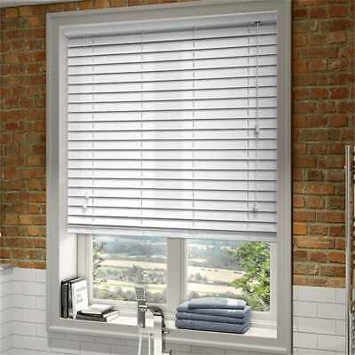 Made To Measure Wooden Venetian Blind Brilliant White Real Wood 50Mm Child Safe