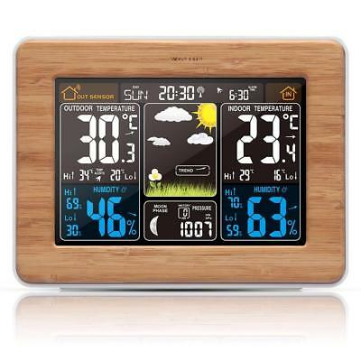 Wireless Weather Station Color Forecast Alert Temperature Humidity Barometer DCF