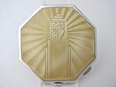 Amazing large octagonal guilloche silver compact W.I. Broadway Birmingham 1938