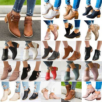Womens Low Mid Block Heel Ankle Boots Casual Ladies Chunky Booties Chelsea Shoes
