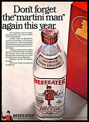 1968 Beefeater London Dry Gin Vintage PRINT AD Distillery Martini Christmas Gift