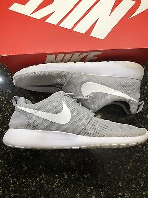 d8d44a266500 Men s Nike Roshe Run Wolf-Grey   White Premium Athletic Shoes Size 11.5