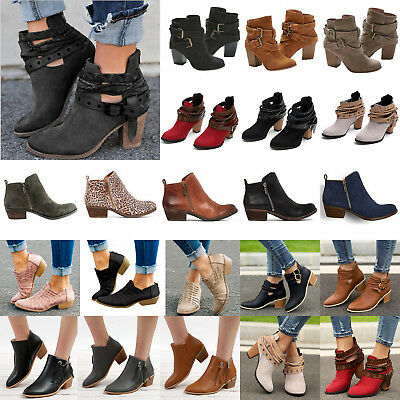 UK Womens Ankle Boots Block Mid Heels Ladies Chunky Booties Chelsea Shoes Size