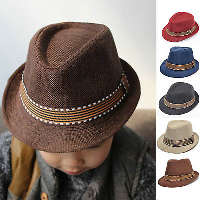 Kids Children Spring Fall Fedora Trilby Hat Punk Jazz Short Brim Gangster  Cap BJ 0f8a1e2e22f3