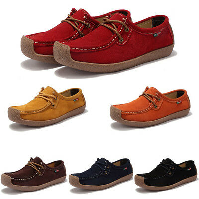 UK Women Ladies Real Leather Flat Shoes Comfy Soft Moccasin Casual Deck Loafers