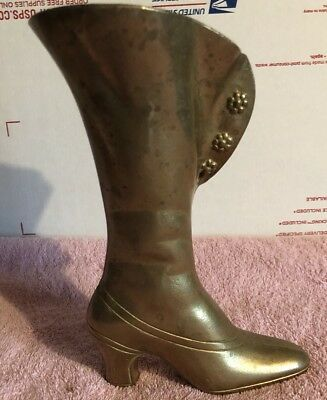 Vintage Victorian Boot Vase Antique High Heel Shoe Golden Cast Brass ARTBRASS