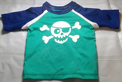 Wave some baby boys 12 month swim shirt blue pirate short sleeve bones