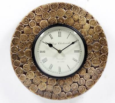 """Antique Vintage Hand Made Ethnic Wooden Brass Coin Finish 12"""" Wall Clock-0084"""