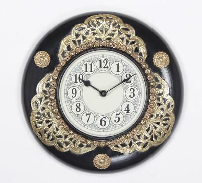 """Antique Vintage Hand Made Ethnic Wooden Brass & Black Finish 12"""" Wall Clock-026"""