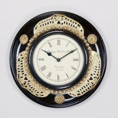 """Antique Vintage Hand Made Ethnic Wooden Brass & Black Finish 12"""" Wall Clock-044"""