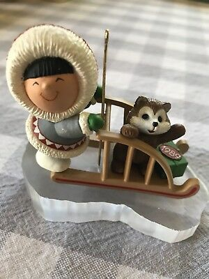 HALLMARK Ornament 1989 Frosty Friends Eskimo Husky Dog Sled 10th Series