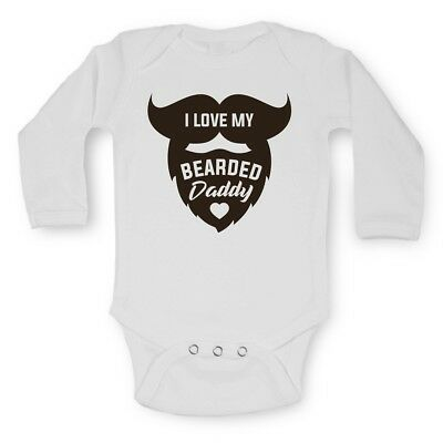 Baby Vests Bodysuits Grows Long Sleeve Funny Printed I LOVE MY BEARDED DADDY