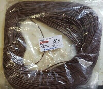 100m electrical 2mm Brown PVC Sleeving tubing wire cable SLBRN2