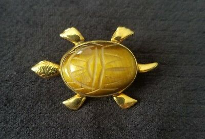 Vintage Bal Ron Tiger Eye Scarab Turtle Pin 12k Gold Filled