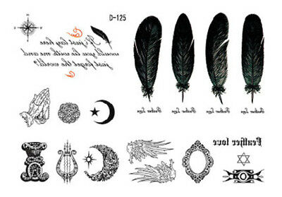 Moon Star Feather WInd Waist Arm Neck Waterproof Temporary Tattoo D125