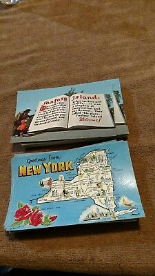 Vintage Lot of 75  NOS Postcards New York Map and Fatasy Island Grand Island NY