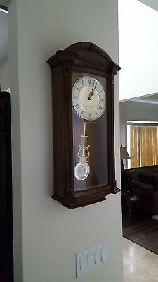 Bulova Westminster Ave Maria Chiming Pendulum Wall Clock, Solid Wood Case