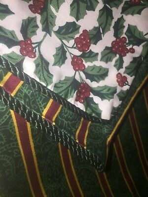 Longaberger 36 ' Reversible Traditional Holly/Green Stripe Accent fabric Square