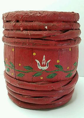 ANTIQUE PENNSYLVANIA Decorated EARLY Oak Staves Paint KEG  BUCKET Sapling Banded