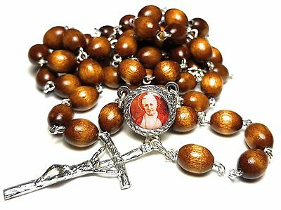 Brown Relic Rosary 3rd class Pope Pius X patron first communicants communion