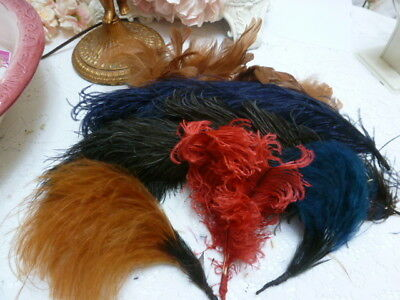 Antique Vtg Victorian Hat Feathers Ostrich Millinary Repurpose Steampunk Costume