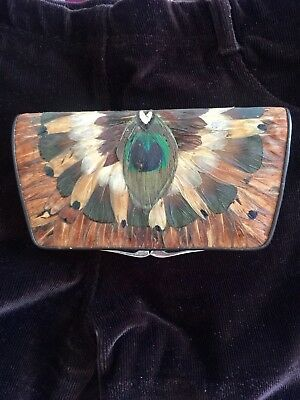 Vintage Feather Coin Purse Peacock Feather And Leather
