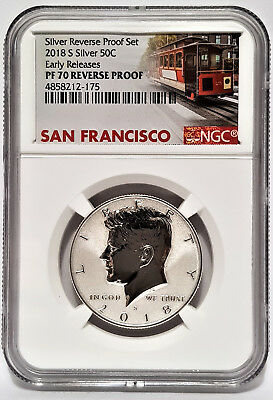 2018-S Silver REVERSE Proof KENNEDY 50C NGC PF70 Early Releases Cable Car Label
