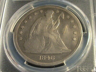 1846 Seated Liberty Silver Dollar, PCGS Genuine, VG Detail, tooled    G1299