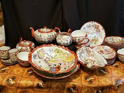 Antique 31 pc. Japanese Kutani Geisha Girl dishes.  Tea Set, Serving bowls
