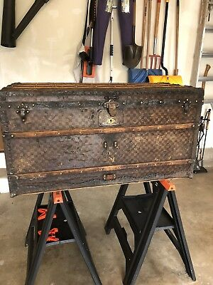 Louis Vuitton Damier Antique Steamer Trunk Checkerboard Coffee Table