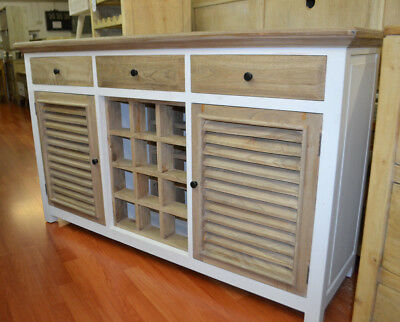 White buffet sideboard with wine rack French provincial  Hamptons  two tone