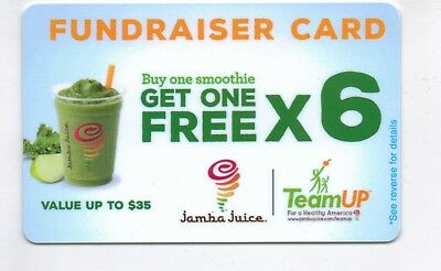 JAMBA JUICE BOGO CARD Buy One Get One 6 Times! Up to $35 value or more!
