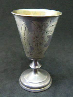 Antiques Shot Glass Silver Russia Gold Plated From The Inside