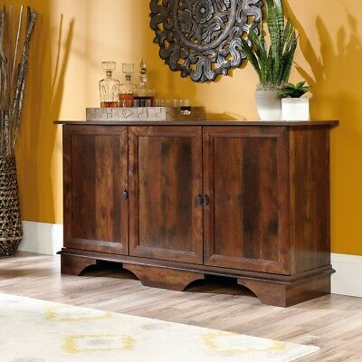 Rustic buffet sideboard credenza burled wood doors drawers country console buffet sideboard storage cabinet credenza server rustic cherry 3 doors watchthetrailerfo