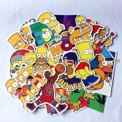 The Simpsons Homer Marge Bart Lisa Cartoon Collection Mixed Stickers Laptop Skat