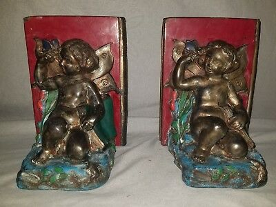 1924 Vintage Bookends: Cherub & Butterfly By Ronson