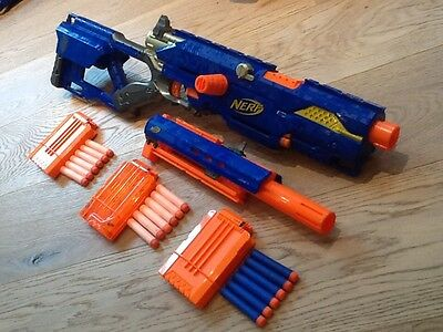 Nerf Longstrike CS-6 Sniper Rifle Toy Gun + Barrel Extension - RARE
