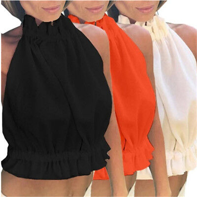 Womens Halter Neck Vest Top, Ladies Summer Going Out Halter Neck Backless one
