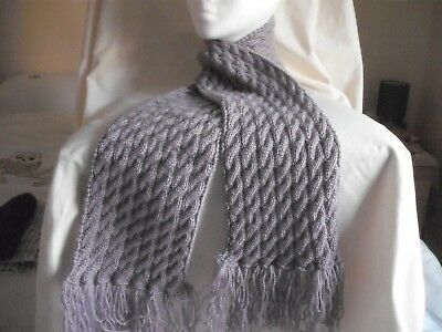 hand knitted ladies cable scarf in King Cole Comfort DK in mulberry