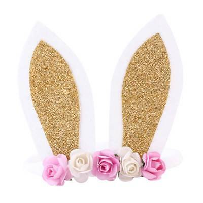 Lovely Bunny Rabbit Ear Headband Floral Crown Hairband for Baby Girl Kid Toddler
