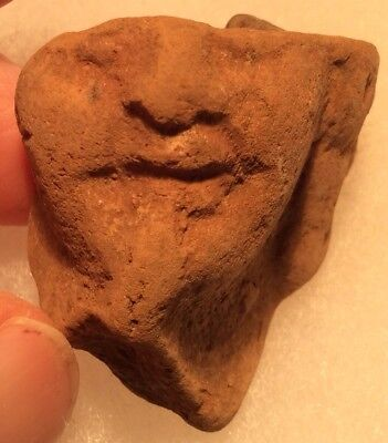 #22 Ancient Ptolemic Egypt Votive Terra-cotta Head 300-100BC HORUS hand to mouth